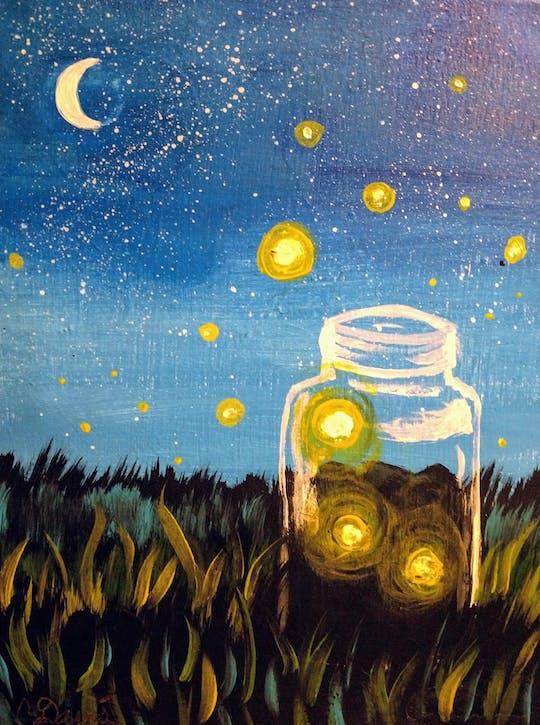 Kids Painting Lightening Bugs