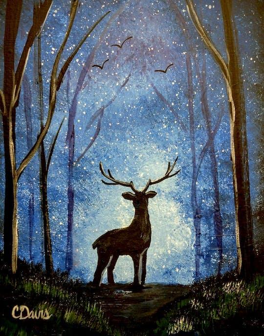 Painting At Dusk Deer