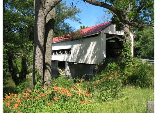 Mecahnicsville Covered Bridge & Daylillies